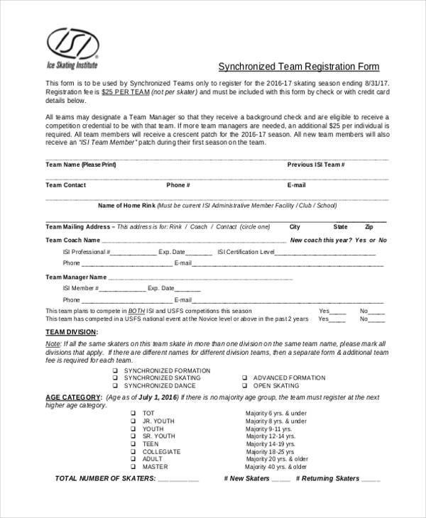 synchronized team registration form