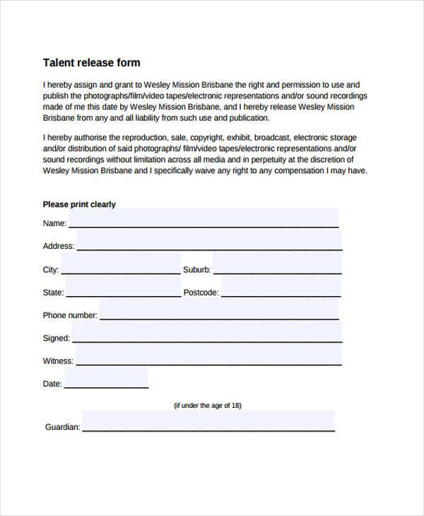 talent release form