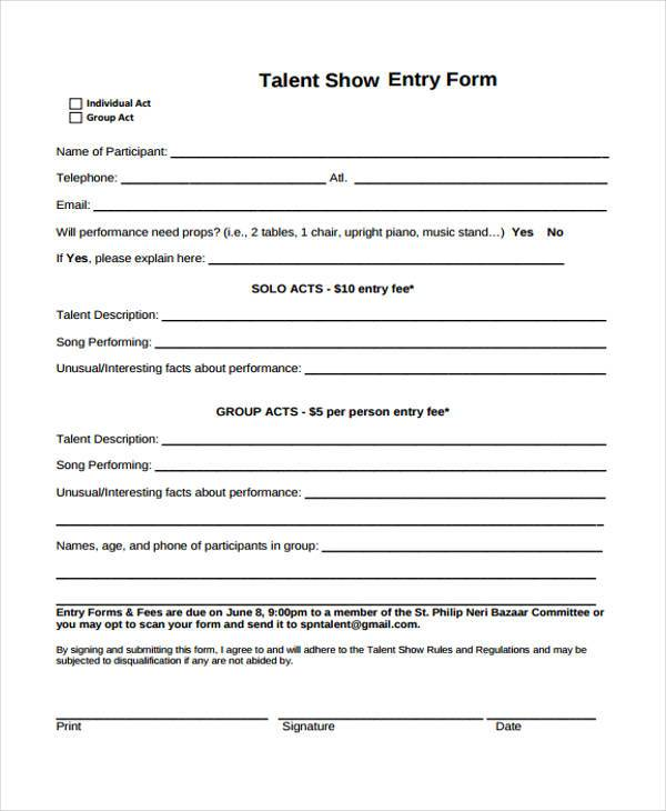 talent show entry form sample