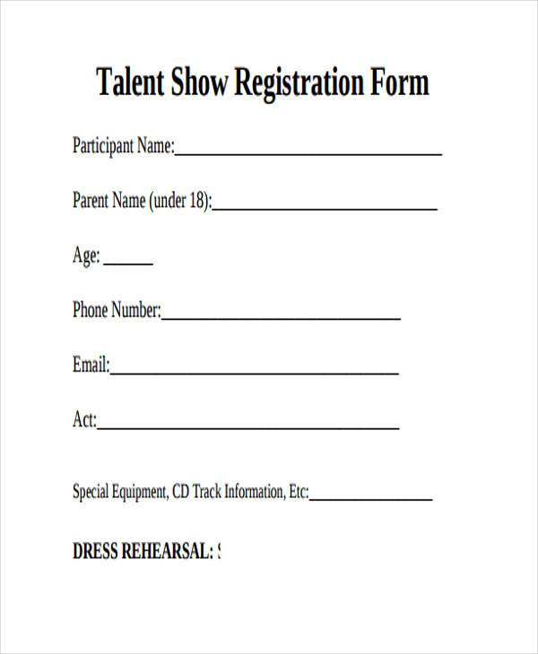 talent show registration form example