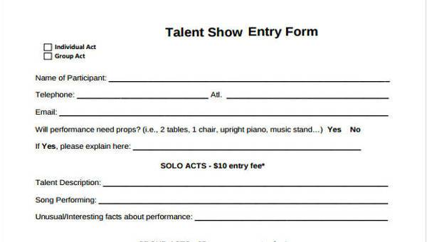 Talent-Show-Registration-Form-Samples Talent Show Application Form Template on mortgage loan, simple account, gym membership, church membership, blank employment, free employee, internal job, blank membership, new vendor,