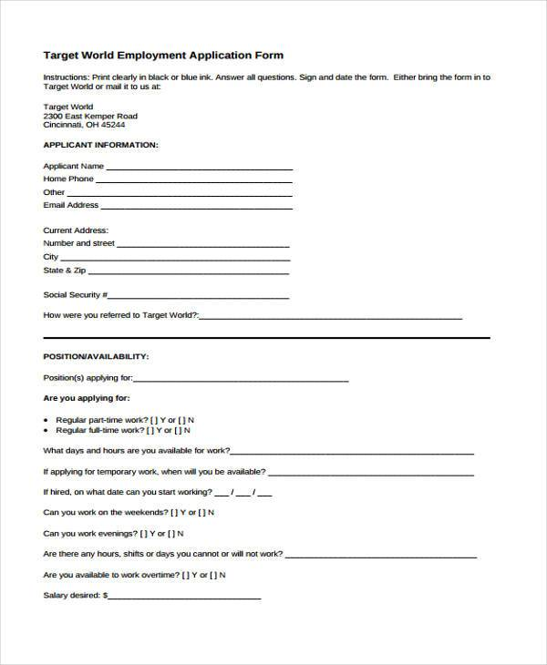 target employment application form