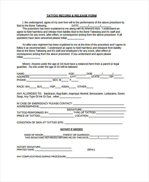 tattoo release form pdf