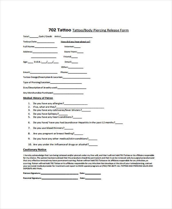 Sample Tattoo Release Forms   Free Documents In Word Pdf