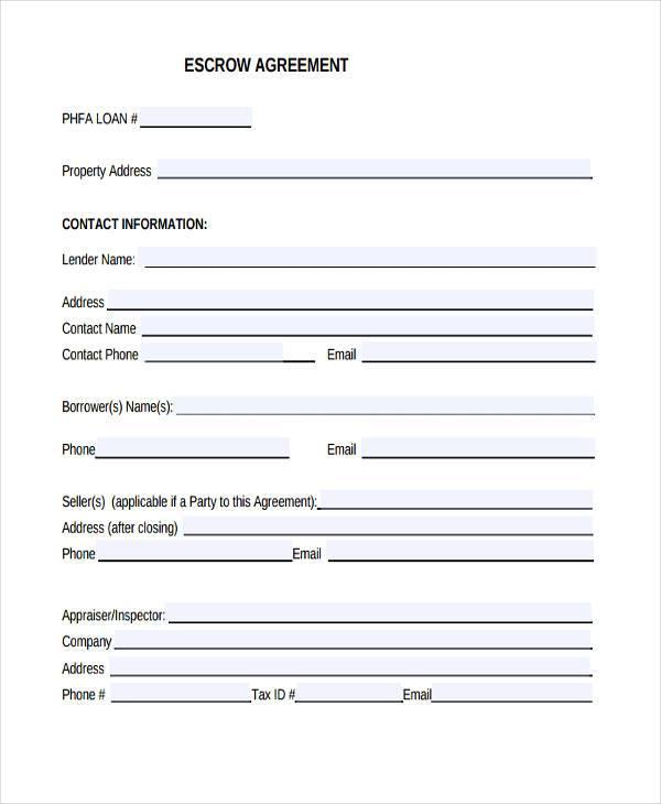 tax escrow agreement form