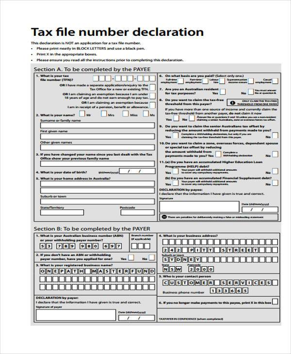 tax file number employment declaration form