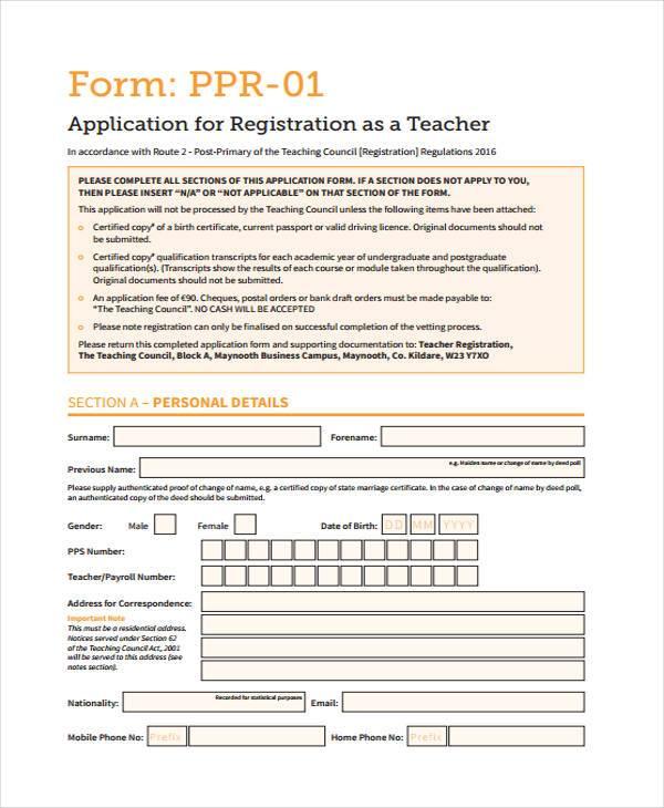 teacher application registration form