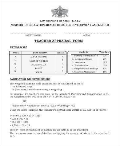 teacher appraisal form sample
