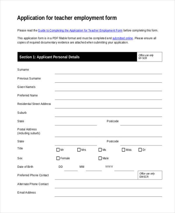 teacher employment application form in pdf