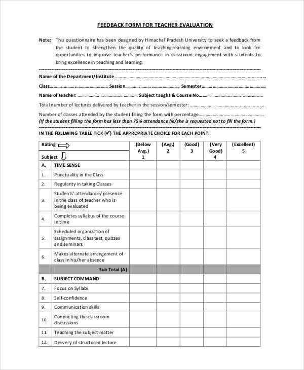 Teacher Feedback Form Samples  Free Sample Example Format