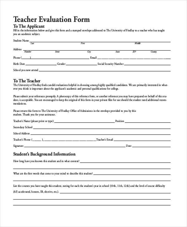 Teacher Evaluation Form Samples  Free Sample Example Format