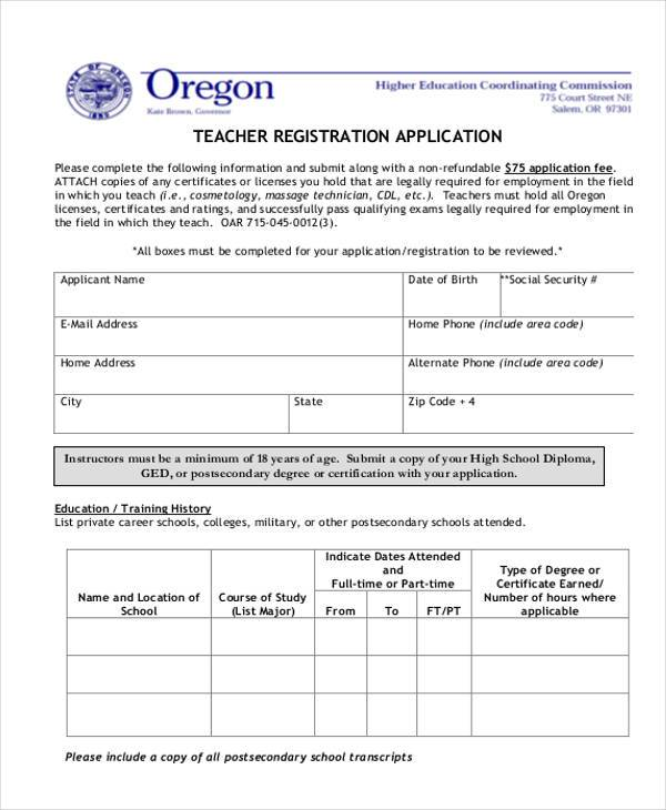 Registration form templates teacher registration application form pronofoot35fo Images
