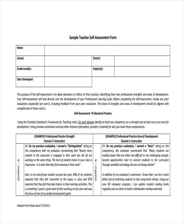 Self Assessment Form Samples 8 Free Documents In Word Pdf