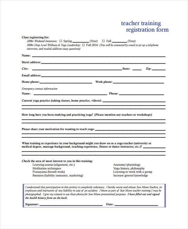 teacher training registration form