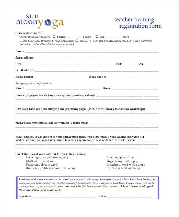 Registration form templates for Course enrolment form template