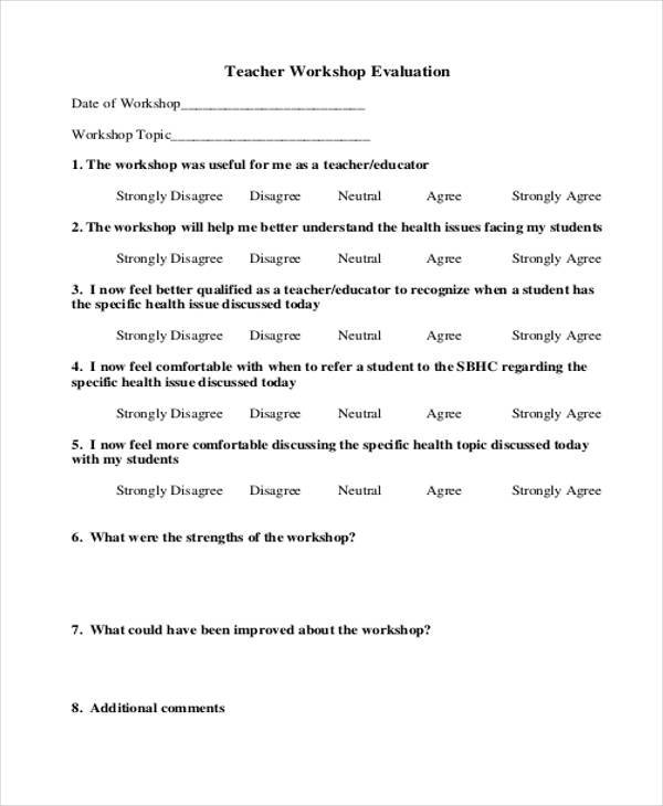 Evaluation Form Examples – Workshop Evaluation Forms Sample