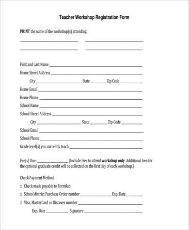 teacher workshop registration form