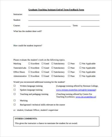 teaching assistant feedback form