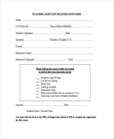 teaching assistant registration form