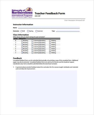 teaching feedback form example