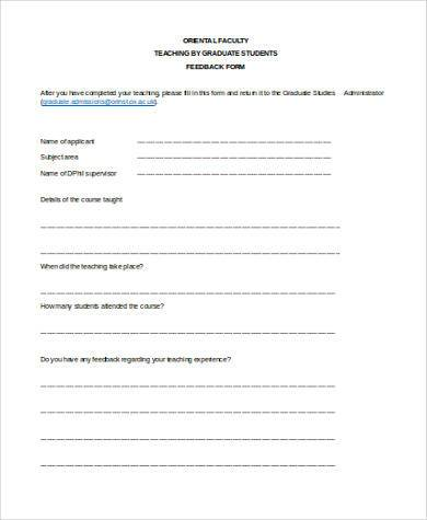 teaching feedback form word