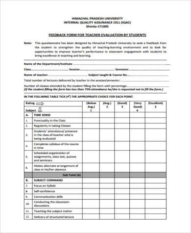 Sample Teaching Feedback Forms - 9+ Free Documents in Word, PDF