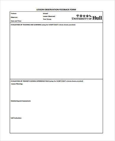 Sample Teaching Feedback Forms   Free Documents In Word Pdf