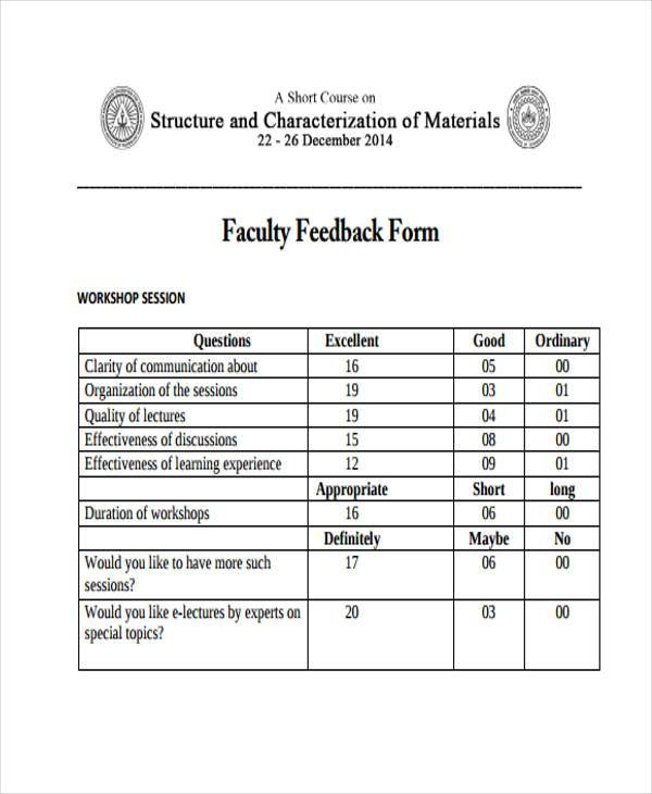 teaching session feedback form example