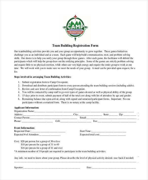 team building registration form