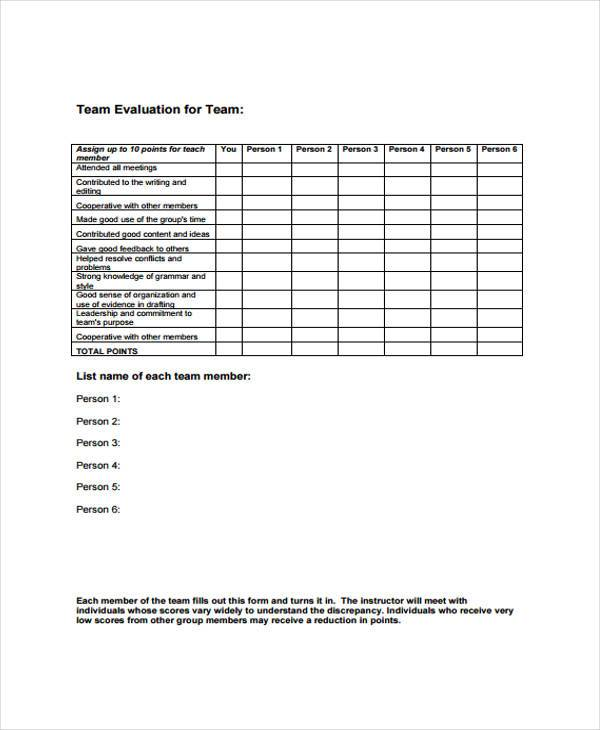 team evaluation form sample