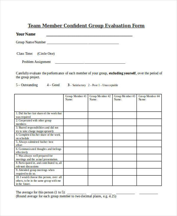 team member confident group evaluation form
