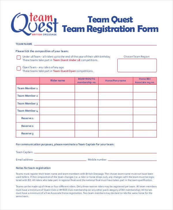 team quest registration form sample