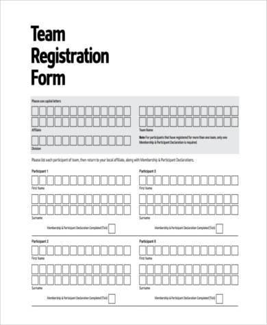 team registration form example