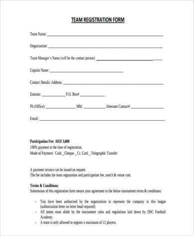 Sample Team Registration Forms   Free Documents In Word Pdf