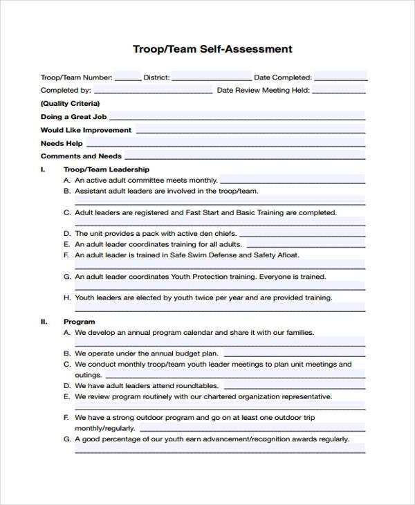 team self evaluation form