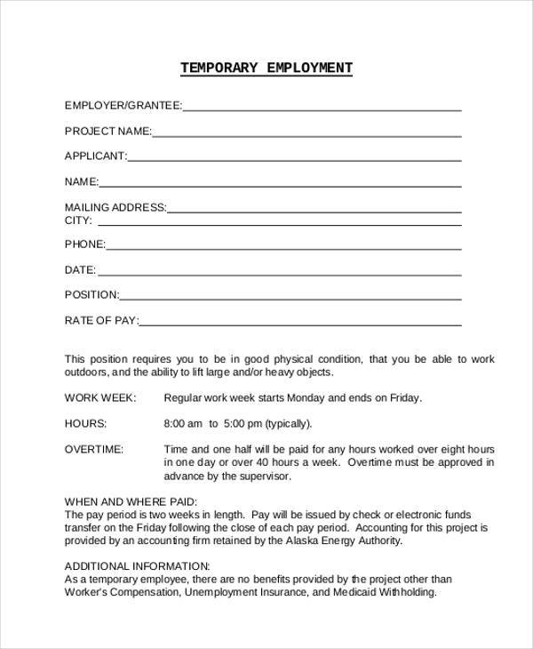 Doc575709 Temporary Employment Contract Temporary Employment – Employment Contract Form