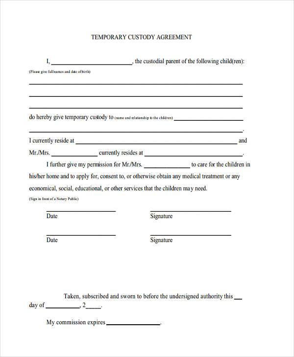 Temporary Custody Form Sample Pet Custody Agreement Form