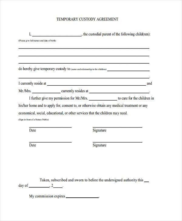 Custody Agreement Form Samples  Free Sample Example Format