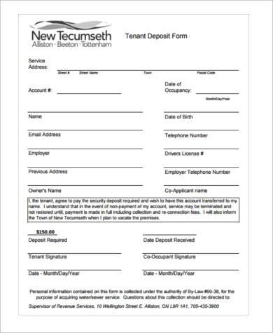 tenancy deposit form in pdf