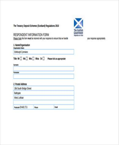 tenancy deposit protection form