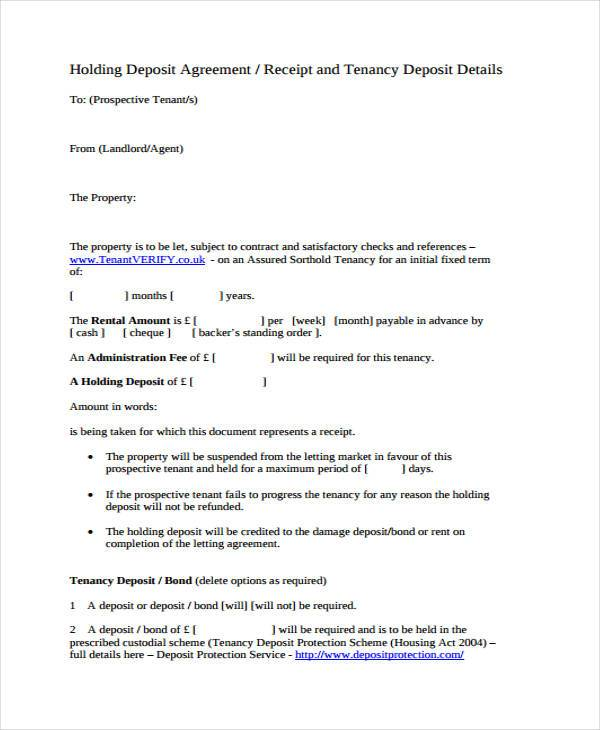 Holding Deposit Agreement Form Samples  Free Sample Example