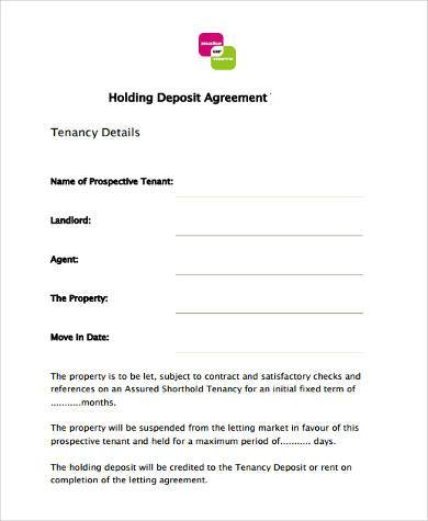 Sample Tenancy Deposit Forms   Free Documents In Word Pdf
