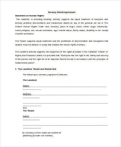 tenancy rental agreement form