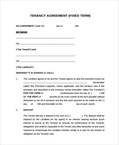 Tenant Agreement Form Samples 8 Free Documents In Pdf