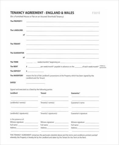 Tenancy Agreement Form In PDF