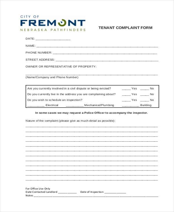 8 tenant complaint form samples free sample example format download tenant complaint form example thecheapjerseys Image collections
