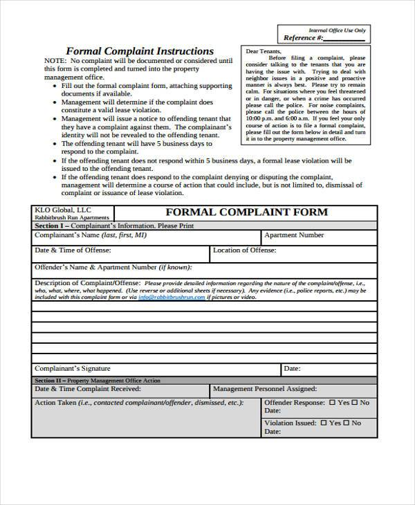 tenant complaint form sample