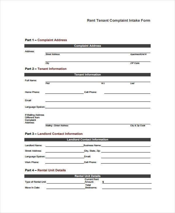 Sample Tenant Complaint Forms   Free Documents In Word Pdf