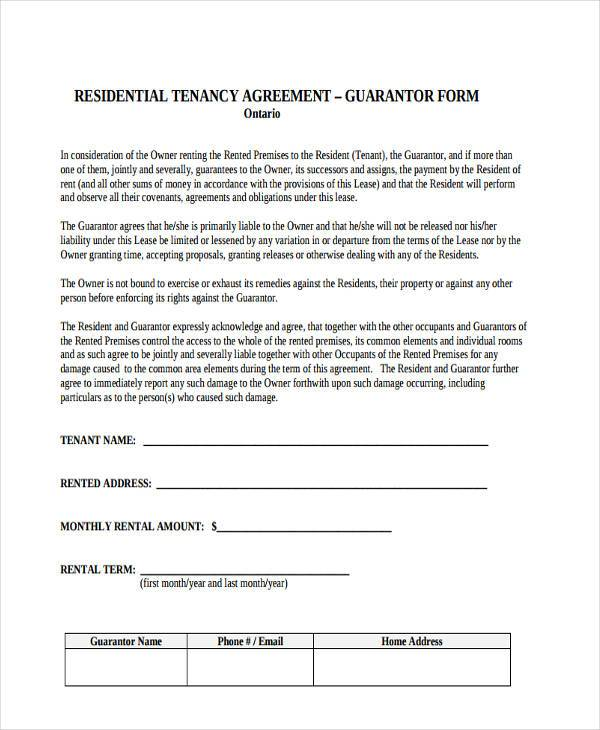 Sample guarantor agreement forms 8 free documents in for Suretyship agreement template