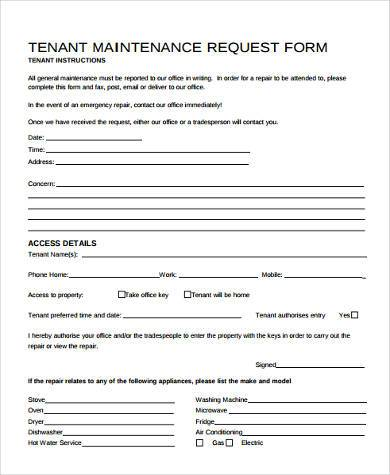Repair Form Template